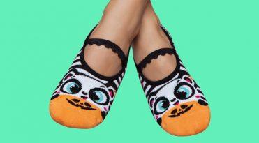 Grip Socks for Women - Halloween Bear