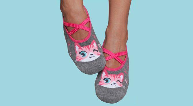 Grip Socks for Women - Kitten Print