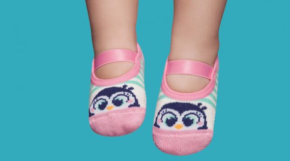 Rubber Sole Grip Socks for Babies - Penguins
