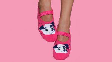 Women's Pilates Socks - Puppy Print