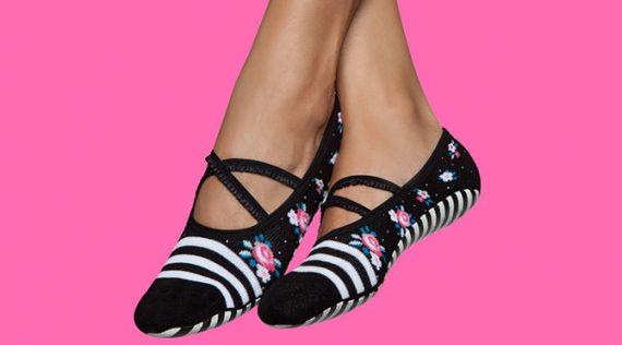 Pilates Grip Socks - Black & White